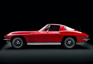 24-034-X-30-034-High-Definition-PHOTOGRAPH-Poster-Corvette-1965-Hard-Top-Red-Side