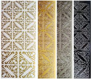 ORNATE-CORNERS-Peel-Off-Stickers-Wedding-Stationery-Card-Making-Gold-or-Silver