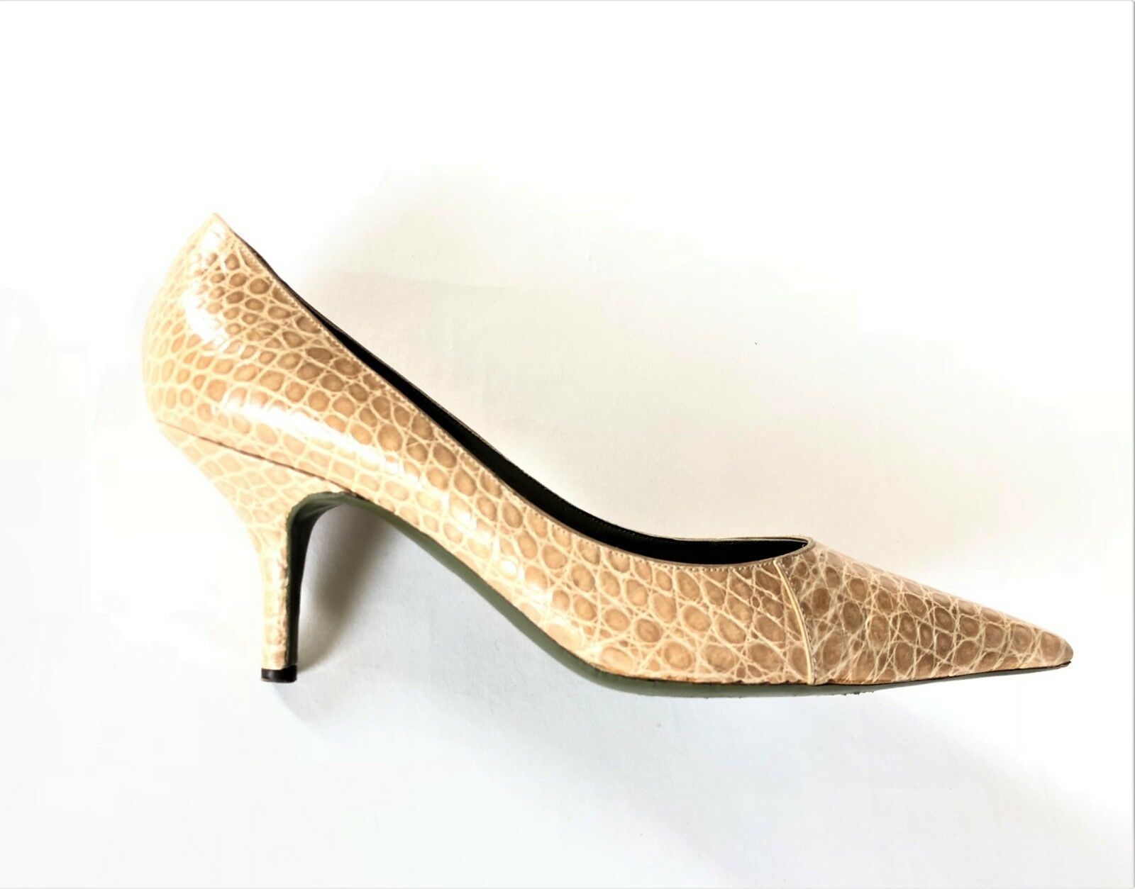 ERNESTO ESPOSITO camel croco embossed leather pumps size 39,5 shoes