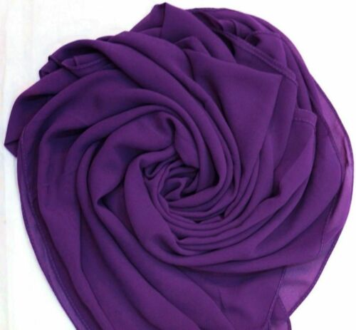 Chiffon Scarf Hijab Soft High Quality Sarong Shawl Maxi Plain Wrap Georgette*CSF