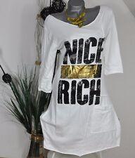 NEU VINTAGE SWEAT DRESS ROBE KLEID TUNIKA *NICE RICH* WEISS 38 40 42