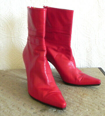 Stuart Weitzman Ankle Boots Red Leather