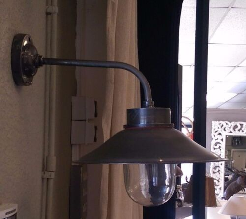 Pewter Finish Outside Wall Lantern in a Modern Hood Industrial Wall Lamp Ship