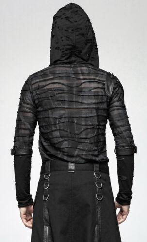 Kapuze Oberteil Shirt Gothic Punk Ripped Verwaschen Nieten Krieger PunkRave Mann