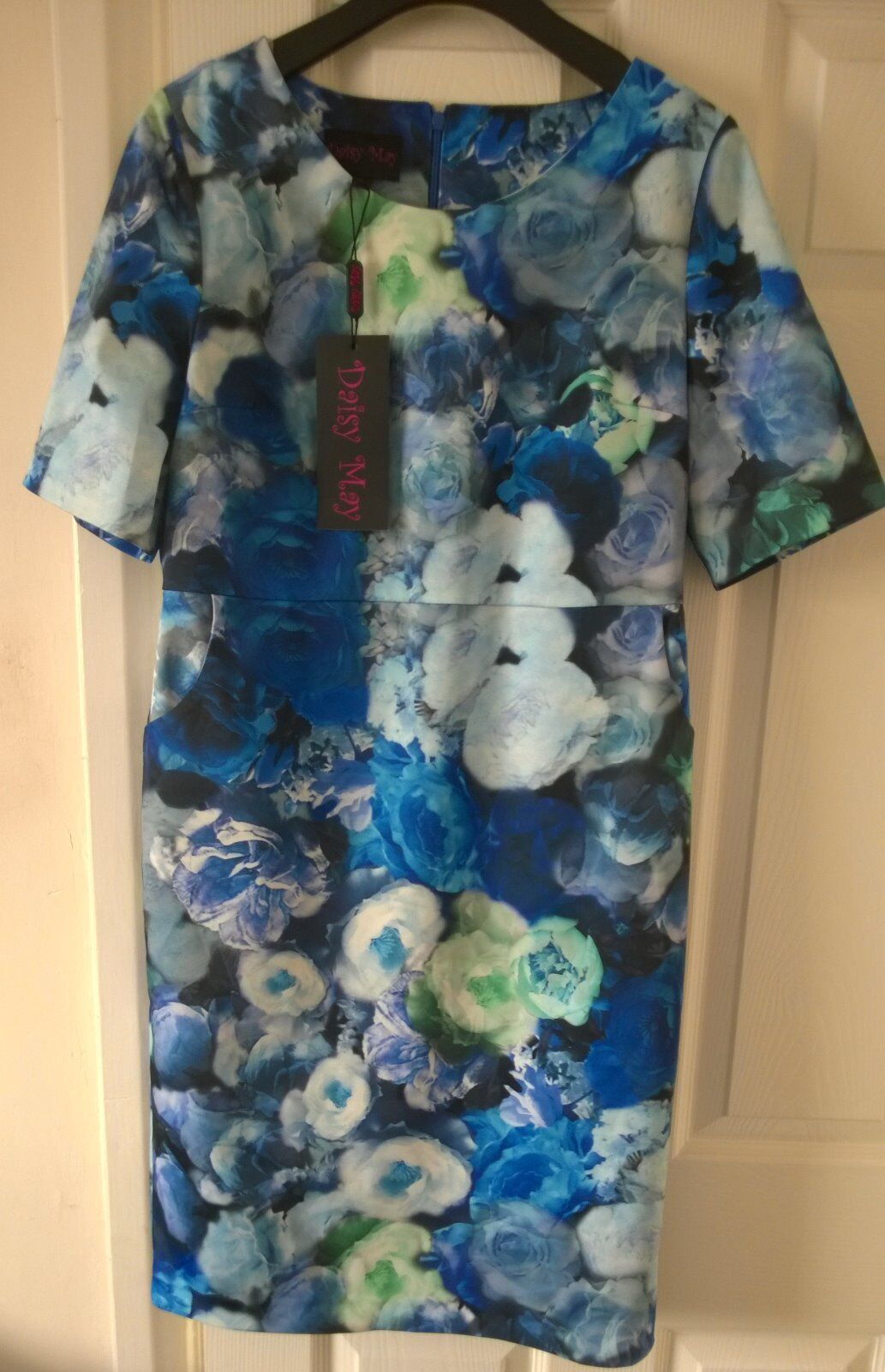 Daisy May Stretchy bluee Designer Dress in Floral prints