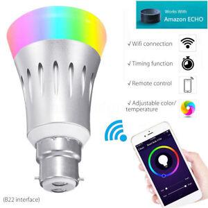 new b22 wireless wifi smart bulb app remote control light for alexa google home ebay. Black Bedroom Furniture Sets. Home Design Ideas