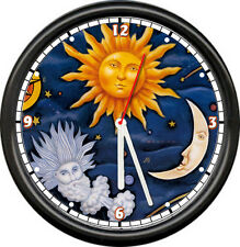 Sun Moon Wind Sky Stars Celestial Planet Night Sky World Wall Clock