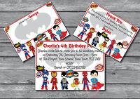 Superhero Personalised Party Birthday Invitations, invites, Boys, Girls, Kids 12