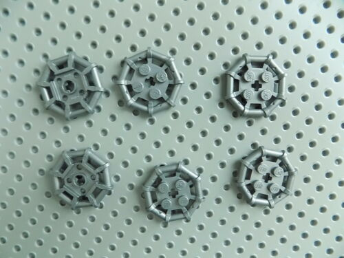 Lego Silver Plate Modified 2 x 2 with Bar Frame Octagonal lot of 6 pieces 75937