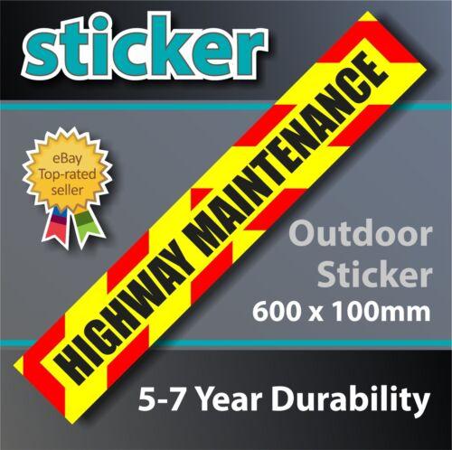 Highway Maintenance Sign Sticker with chevrons - 600 x 100mm Laminated Matt