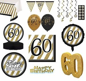 cp AGE 60 BLACK /& GOLD HAPPY BIRTHDAY PARTY DECORATIONS 60th TABLEWARE