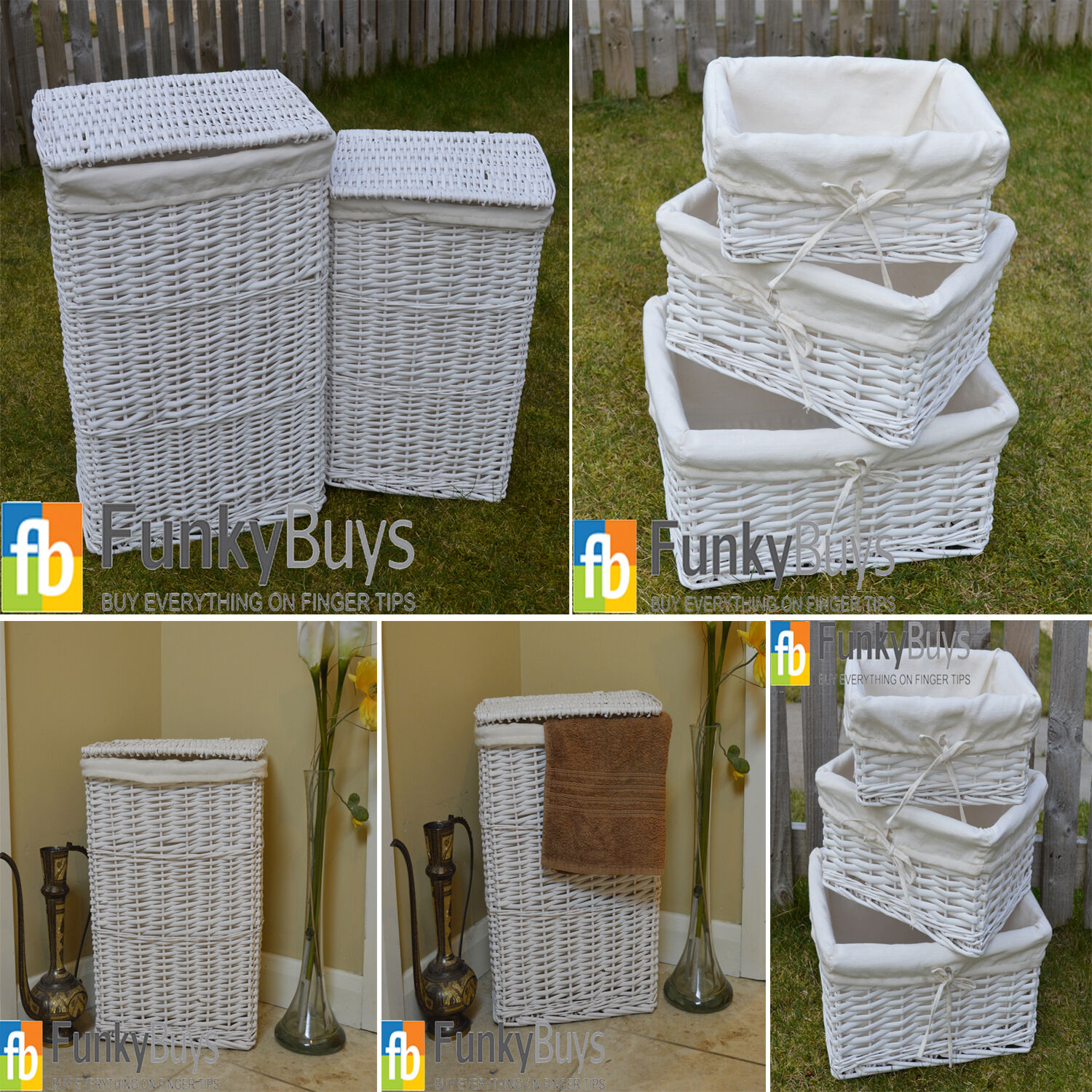 large medium rectangular white wicker laundry linen basket. Black Bedroom Furniture Sets. Home Design Ideas