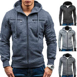 HOMME-manches-longues-fin-Sweat-shirt-a-capuche-Pull-over-Pull-a-a-manteau