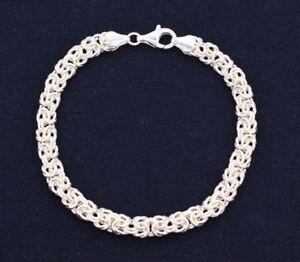 Italian-Diamond-Cut-Textured-Byzantine-Link-Bracelet-Real-Sterling-Silver-925