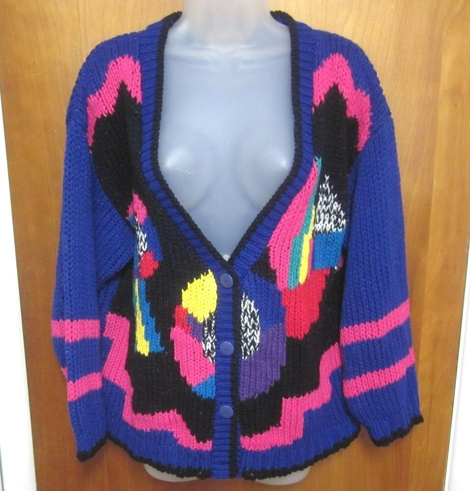 CHERRY STIX psychedelic cardigan sweater 2XL hand-knit kitschy XXL garish 1980s
