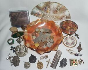 LOVELY JOB LOT JUNK DRAWER COLLECTABLES INC CARNIVAL GLASS, COINS, JEWELLERY ETC