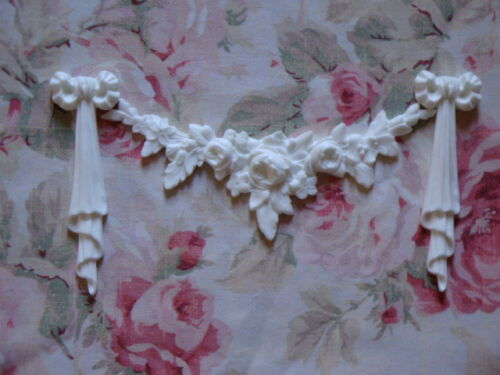 Rose Swag with Bow Drops Set Furniture Applique Pediment New Gorgeous