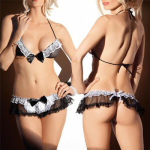 a841562df Image is loading Ladies-Sexy-Lingerie-Sheer-Naughty-Maid-Uniform-underwear-