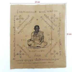 LP Khom Wishing Cloth Pha Yant Talisman Thai Amulet Buddha Luck Rich #28