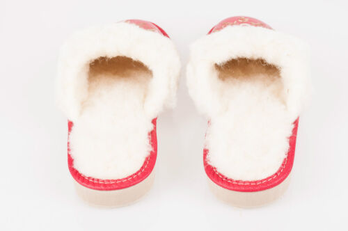 Ladies//Women`s 100/% Natural leather warmed slippers size:3,4,5,6,7,8
