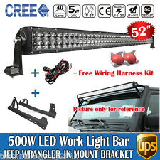 52inch 500W Cree LED Light Bar+ Mount Bracket+ Wire Kit Fit For Jeep Wrangler JK