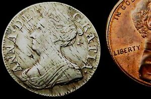 S113-1710-Queen-Anne-Good-Grade-Silver-Threepence-Contemporary-Haymarking