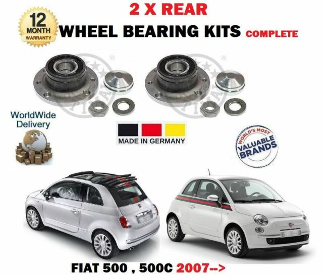 FOR FIAT 500 + 500C  2007--> NEW 2 X REAR WHEEL BEARING KITS WITH SENSOR RING