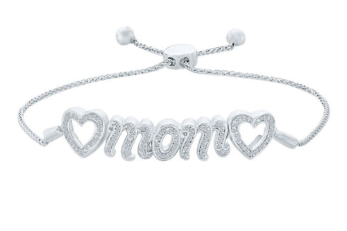 "Round Natural Diamond Accent Heart ""mom"" Bolo Bracelet  Silver"