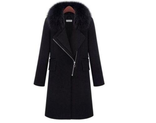 Frakke Kvinder Uld Lang Slank Lapel Vinter Blend Hættejakke Fur Zip Collar 1q148