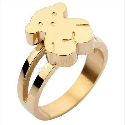 Size6-9 Stainless Steel Bear Ring Womens Silver/Gold Wedding Band Fashion Jewery