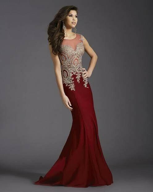 Stunning burgundy red formal gown (Clarisse 4507)