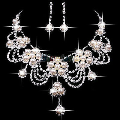 Women's Luxury Rhinestone Faux Pearl Necklace Earring Wedding Bridal Jewelry Set