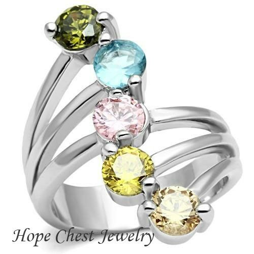 WOMEN'S SILVER TONE MULTI-COLOR 5 CUBIC ZIRCONIA JOURNEY FASHION RING SIZE 5 -10