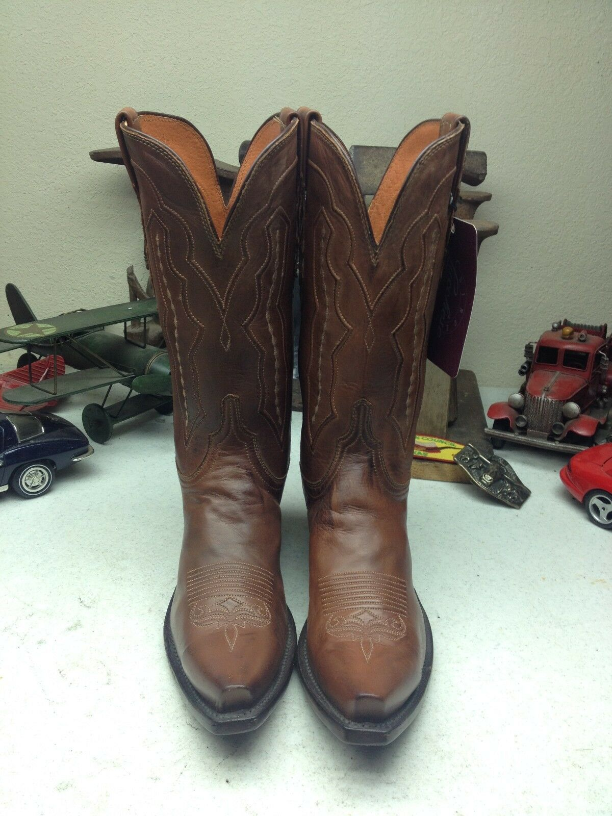 BROWN LUCCHESE RUSTIC LEATHER WESTERN TRAIL BOSS RANCH RODEO DANCEBOOTS 9.5 B