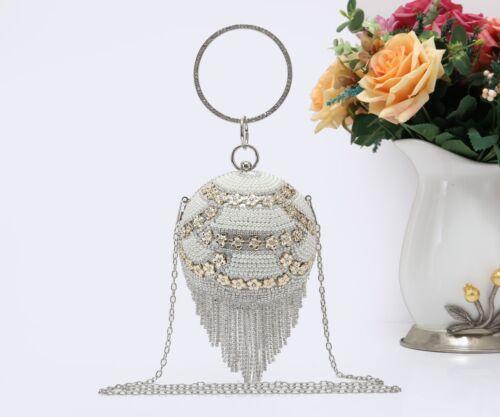 Womens Ladies Ball Shape Flower Pearl Studs Evening Bag Clutch Tassel Handbag
