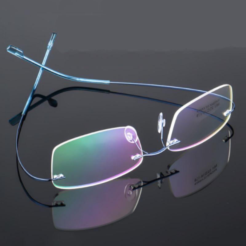 Randlos Brille Herren optische Gläser Speicher Titanium Brillenfassung O4Y2