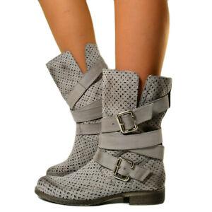 Dettagli su Stivali Estivi in Vera Pelle Nabuk Traforati effetto Vintage Biker Boots 202f