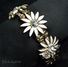 Vintage PILGRIM Bracelet Gold/White Enamel Clear Swarovski DAISY FLOWER BNWT