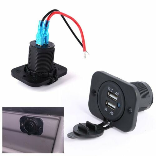 Waterproof 12V USB Dual Lighter Auto Car Charger Power Adapter Socket Splitter