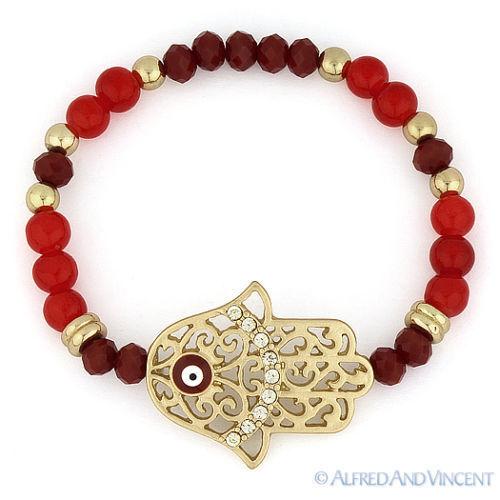 Hamsa Hand of Fatima Judaica Evil Eye Kabbalah Charm CZ Crystal Stretch Bracelet