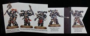 Chaos-5-Melee-Marines-Aspiring-Champion-Shadowspear-Warhammer-40K-Chainswords