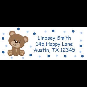30 return address labels for baby shower teddy bear blue polka