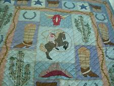 """ Patch Magic "" Quilt Western Cowboy Cactus Star Boot Horse Shoe Chuck Wagon Hat"