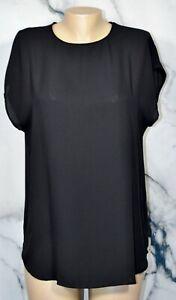 BANANA REPUBLIC Black Short Sleeve Soft Fashion Tee Top Medium Unlined Round Hem