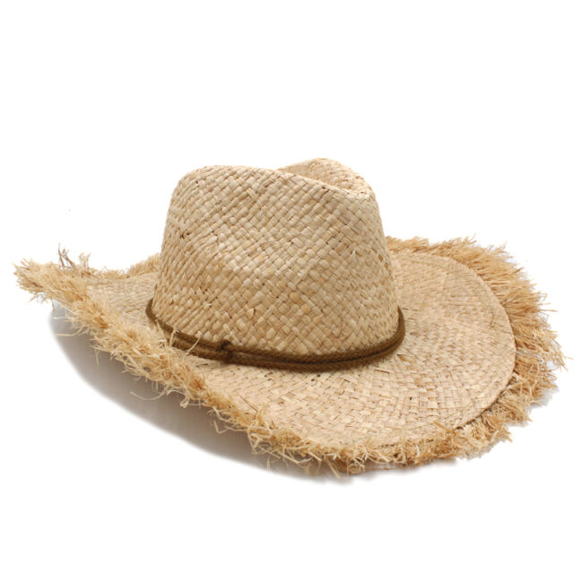 3c914be0e762e Men Women Straw Cowboy Western Hats Wide Brim Panama Sombrero Beige Summer  Caps