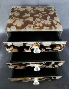 Pre-Owned-Mirrored-Smoke-Glass-Jewellery-Box-With-Floral-Pattern