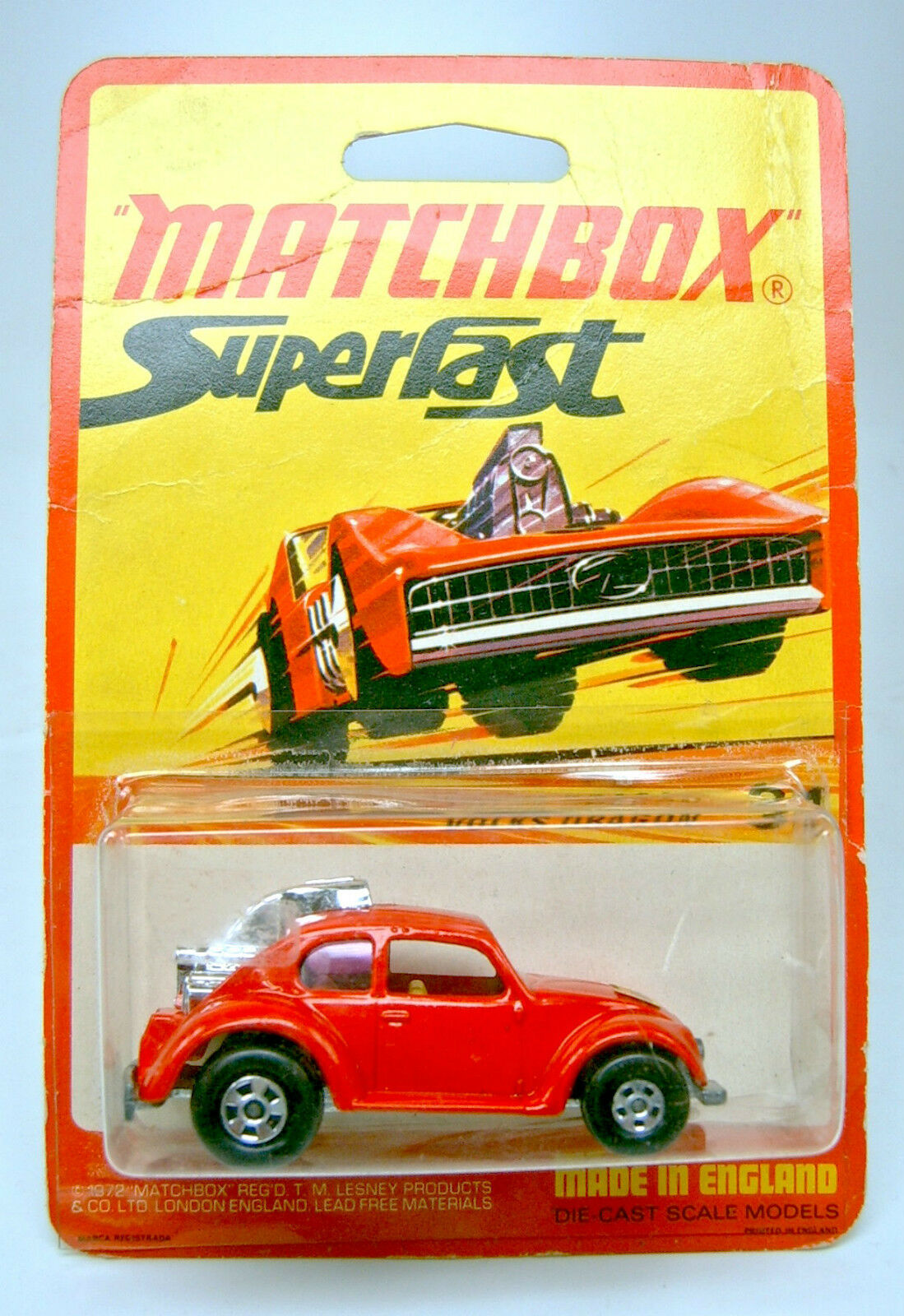 Matchbox superfast nr. 31b volks drachen auf seltener 1972 blisterkarte