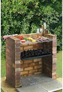 large diy brick charcoal bbq barbecue stainless steel cooking grill tray kit ebay. Black Bedroom Furniture Sets. Home Design Ideas