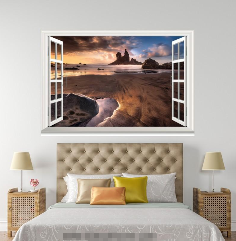 3D Beach Scenery 726 Open Windows WallPaper Murals Wall Print Decal Deco AJ WALL