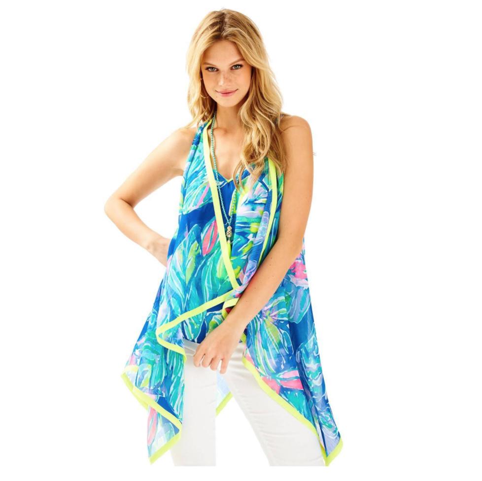 NEW Lilly Pulitzer Hidi Vest Casa Del Sol Wrap Cover Up Blau Grün  XXS   XS